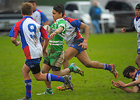 Action from the Under-14 representative rugby match between Manawatu (green and white) and Horowhenua-Kapiti (red white and blue) at Arena Manawatu, Palmerston North, New Zealand on Saturday, 5 September 2015. Photo: Dave Lintott / lintottphoto.co.nz