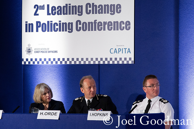 "© Joel Goodman - 07973 332324 . 22/05/2012 .  Manchester , UK . Home Secretary THERESA MAY , ACPO President SIR HUGH ORDE and  Greater Manchester Police Deputy Chief Constable IAN HOPKINS on a panel at the conference . The Association of Chief Police Officers ( ACPO ) "" Leading Change in Policing Conference "" , at the Manchester Central Convention Centre . Photo credit: Joel Goodman"