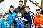 l-r  Aidan Murphy, Brian Moriarty, Martin Fey, Anthony Kelleher and Pat Sheehan with Dani Carvajal who plays with Real Madrid at the Senior County Football Championship Mid Kerry V Dingle at Killorglin GAA on Sunday