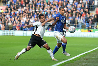 Swansea City's Wayne Routledge battles with Cardiff City's Lee Peltier<br /> <br /> Photographer Ian Cook/CameraSport<br /> <br /> The EFL Sky Bet Championship - Cardiff City v Swansea City - Sunday 12th January 2020 - Cardiff City Stadium - Cardiff<br /> <br /> World Copyright © 2020 CameraSport. All rights reserved. 43 Linden Ave. Countesthorpe. Leicester. England. LE8 5PG - Tel: +44 (0) 116 277 4147 - admin@camerasport.com - www.camerasport.com
