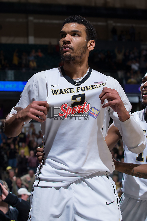 Devin Thomas (2) of the Wake Forest Demon Deacons reacts after scoring a basket and drawing a foul during second half action against the Virginia Cavaliers at the LJVM Coliseum on January 26, 2016 in Winston-Salem, North Carolina.  The Cavaliers defeated the Demon Deacons 72-71.   (Brian Westerholt/Sports On Film)