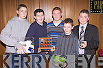 Moyvane footballers at the Coiste na nOg Awards in The Lantern's Hotel, Tarbert last Friday night, l-r: Edward Moore, James Flaherty, Aiden Enright, James Fitzgerald and Dylan Mulvihill.