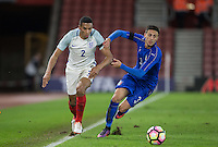 Isaac Hayden (Newcastle United) of England & Antonio Barreca (Torino) of Italy battle for the ball during the Under 21 International Friendly match between England and Italy at St Mary's Stadium, Southampton, England on 10 November 2016. Photo by Andy Rowland.