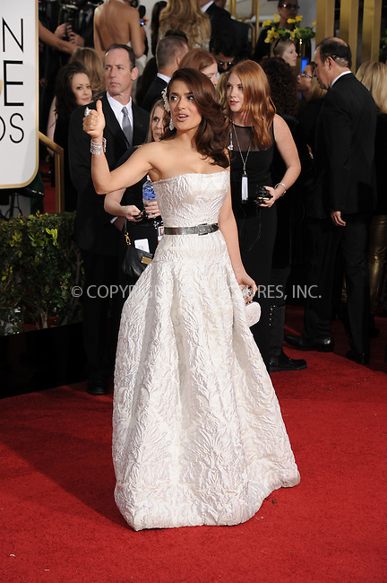 WWW.ACEPIXS.COM<br /> <br /> January 11 2015, LA<br /> <br /> Salma Hayek arriving at the 72nd Annual Golden Globe Awards at The Beverly Hilton Hotel on January 11, 2015 in Beverly Hills, California. <br /> <br /> <br /> By Line: Peter West/ACE Pictures<br /> <br /> <br /> ACE Pictures, Inc.<br /> tel: 646 769 0430<br /> Email: info@acepixs.com<br /> www.acepixs.com