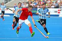 England's Sam Ward in action during the Hockey World League Semi-Final match between England and Argentina at the Olympic Park, London, England on 18 June 2017. Photo by Steve McCarthy.
