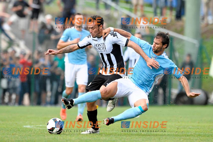Daniele Mannini Siena Lorik Cana Lazio.Auronzo di Cadore 25/7/2012.Football Calcio 2012 / 2013 .Amichevole Friendly Match.SS Lazio Vs AC Siena.Foto Insidefoto.
