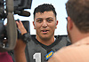 Joe Valenti #13 of Wantagh speaks to a modest gathering of media during practice at Hofstra University on on Monday, June 19, 2017 in preparation for the 22nd annual Empire Challenge. The best seniors from Long Island will battle their New York City counterparts on Wednesday, June 21 at Shuart Stadium.