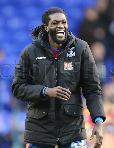 21.02.2016. White Hart Lane, London, England. Emirates FA Cup 5th Round. Tottenham Hotspur versus Crystal Palace. Emmanuel Adebayor very happy with the result against his former club