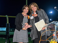 Jean Marie (Sanders) Szakovits '84 and her coach, Kinesiology Professor Lynn Mehl. The Occidental College Athletics Dept. host their annual Hall of Fame dinner during Homecoming & Family Weekend, Saturday, Oct. 19, 2013. (Photo by Marc Campos, Occidental College Photographer)