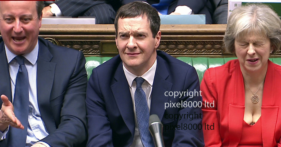 Pic shows: Budget 2016<br /> <br /> George Osborne reacts to fierce criticism by Jeremy Corbyn<br /> <br /> <br /> <br /> <br /> Picture by Pixel8000 07917221968