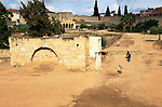 Moorish water cistern building inside Alcazaba fortress, Merida, Extremadura, Spain