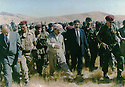 Iraq 1994 .Meeting  of Kosrat Rasul with Masoud Barzani in the mountains. Left, Jabar Fermand  .<br />