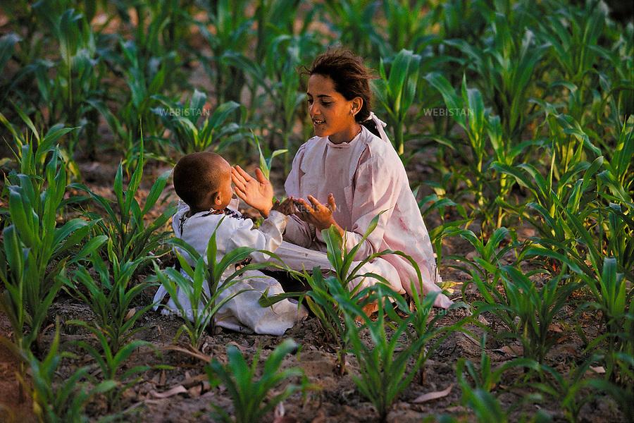 Egypt. Nile delta. June 1996. Young girl playing with a little child in the middle of the fields. .Egypte. Delta du Nil. Juin 1996. Jeune fille jouant avec un petit enfant en pleins champs.
