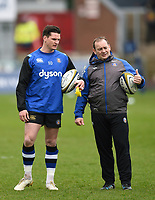 Freddie Burns and Darren Edwards of Bath Rugby during the pre-match warm-up. Anglo-Welsh Cup Final, between Bath Rugby and Exeter Chiefs on March 30, 2018 at Kingsholm Stadium in Gloucester, England. Photo by: Patrick Khachfe / Onside Images