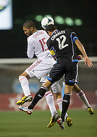 March 3rd, 2013: Alvaro Saborio and Ramiro Corrales jump for the ball during a game at Buck Shaw Stadium, Santa Clara, Ca.  Salt Lake Real defeated San Jose Earthquakes