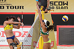 30.05.2015, Moskau, Vodny Stadion<br /> Moskau Grand Slam, Main Draw / Halbfinale<br /> <br /> Angriff Fan Wang (#1 CHN) - Block Talita Antunes (#2 BRA)<br /> <br />   Foto &copy; nordphoto / Kurth