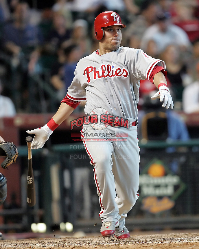 Phillies OF Gregg Dobbs triples on Sunday May 25th at Minute Maid Park in Houston, Texas. Photo by Andrew Woolley / Four Seam Images..