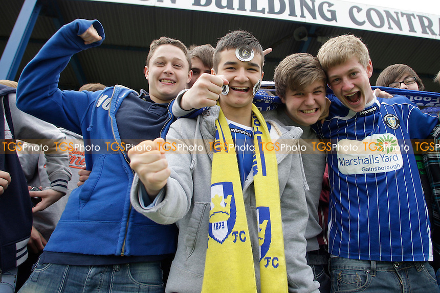 Trinity fans in goos mood before KO. - Gainsborough Trinity vs Nuneaton Town - Blue Square Conference North Play-Off Final at Northolme, Gainsborough - 13/05/12 - MANDATORY CREDIT: Mark Hodsman/TGSPHOTO - Self billing applies where appropriate - 0845 094 6026 - contact@tgsphoto.co.uk - NO UNPAID USE.