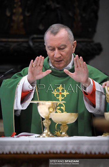 Cardinal and Vatican Secretary of State Pietro Parolin ,Pope Francis  during  the mass New Cardinals in  St. Peter's Basilica at the Vatican on February 23, 2014