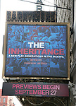 """Theatre Marquee unveiling for Broadway's production of the Matthew Lopez play """"The Inheritance"""" at the Barrymore Theatre on July 29, 2019 in New York City."""