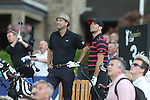 Gethin Jones and Scottish actor Dougray Scott look on as Phillip Glenister tees off on the 4th hole.<br /> Celebrity Cup Golf<br /> Celtic Manor Resort<br /> 04.07.14<br /> &copy;Steve Pope-SPORTINGWALES