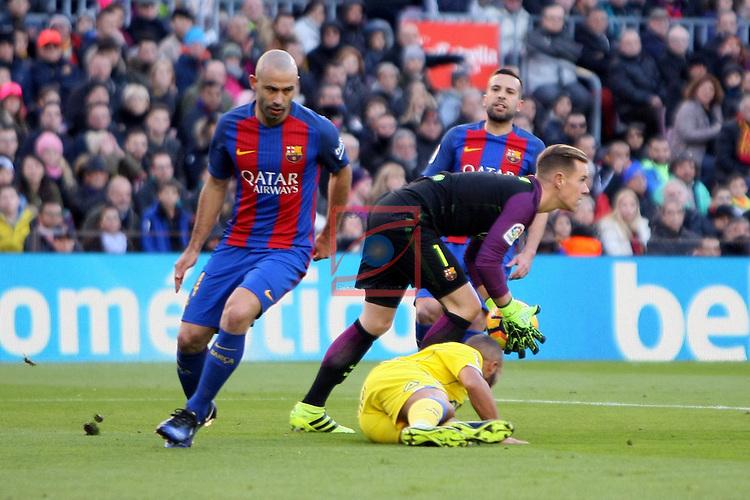 League Santander 2016/2017. Game: 18.<br /> FC Barcelona vs UD Las Palmas: 5-0.<br /> Javier Mascherano &amp; Marc Andre Ter Stegen.