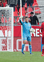 20 April 2013: Houston Dynamo goalkeeper Tally Hall #1 in action during an MLS game between the Houston Dynamo and Toronto FC at BMO Field in Toronto, Ontario Canada..The game ended in a 1-1 draw...