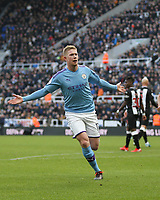 30th November 2019; St James Park, Newcastle, Tyne and Wear, England; English Premier League Football, Newcastle United versus Manchester City; Kevin de Bruyne of Manchester City celebrates after he scores with a volley in the 82nd minute to make it 1-2 - Strictly Editorial Use Only. No use with unauthorized audio, video, data, fixture lists, club/league logos or 'live' services. Online in-match use limited to 120 images, no video emulation. No use in betting, games or single club/league/player publications