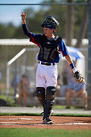 Jd Gregson during the WWBA World Championship at the Roger Dean Complex on October 19, 2018 in Jupiter, Florida.  Jd Gregson is a catcher from Frisco, Texas who attends Wakeland High School and is committed to Baylor.  (Mike Janes/Four Seam Images)