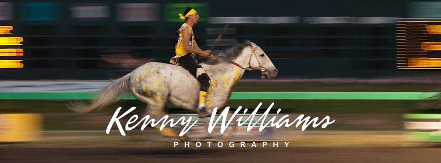 Chaz Racine Riding Yellow Painted Grey Horse, Team Carson, Battle of Horse Nation, Indian Horse Relay Racing, Emerald Downs, Auburn, Washington, WA, America, USA.