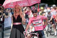 Maglia Rosa / overall leader Jan Polanc (SVK/UAE-Emirates) at the race start line in Pinerelo<br /> <br /> Stage 13: Pinerolo to Ceresole Reale/Lago Serrù (196km)<br /> 102nd Giro d'Italia 2019<br /> <br /> ©kramon