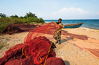 Ishimalanga with her fishing nets, Lake Tanganyika, Congo.<br />