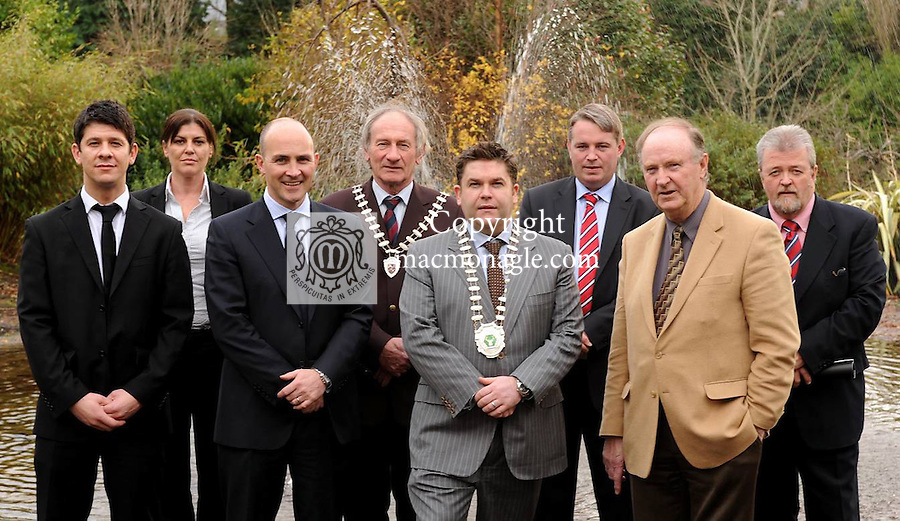 At the Killarney Chamber of Tourism and Commerce Christmas lunch in The Malton Hotel  Killarney on Thursday were from left, Brendan McEvoy, 3 Business Linda Clich, 3 BDE,  and Ian Blake, 3 National Sales Manager,  Michael Gleeson, Mayor of Killarney, Tom Randles, Killarney Chamber President, Maurice O'Meara, Killarney Golf & Fishing Club Manager, Dermot Gilleece, Golf Writer and Jerry O'Grady, Killarney Chamber .Picture: Eamonn Keogh (MacMonagle, Killarney)