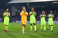 Liverpool players applaud the fans at the final whistle during the EPL - Premier League match between Crystal Palace and Liverpool at Selhurst Park, London, England on 29 October 2016. Photo by Steve McCarthy.