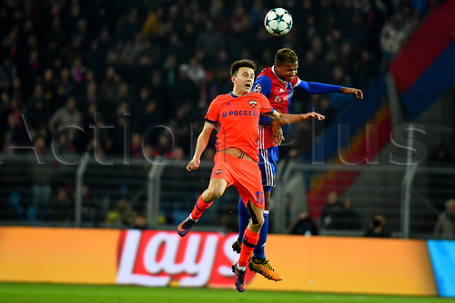 31st October 2017, St Jakob-Park, Basel, Switzerland; UEFA Champions League, FC Basel versus CSKA Moscow; Manuel Akanji of FC Basel challenges Aleksandr Golovin of CSKA Moscow for the ball