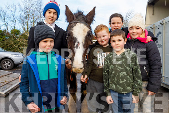 Bobby Browne, Jasmine and Paddy Enright, Jim, Hannah and Tom O'Connor at the Abbeydorney Harriers Hunt on Sunday.