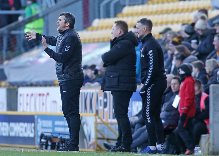 Fleetwood Town manager Joey Barton shouts instructions to his team from the dug-out <br /> <br /> Photographer David Shipman/CameraSport<br /> <br /> The EFL Sky Bet League One - Bradford City v Fleetwood Town - Saturday 9th February 2019 - Valley Parade - Bradford<br /> <br /> World Copyright © 2019 CameraSport. All rights reserved. 43 Linden Ave. Countesthorpe. Leicester. England. LE8 5PG - Tel: +44 (0) 116 277 4147 - admin@camerasport.com - www.camerasport.com