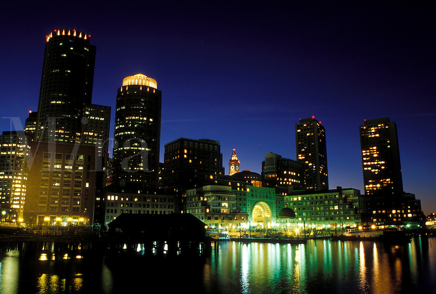 Boston, skyline, MA, Massachusetts, Skyline of downtown Boston from across the Charles River in the evening.