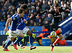 Caglar Soyuncu and Hamza Choudhury of Leicester City challenge Mason Mount of Chelsea during the Premier League match at the King Power Stadium, Leicester. Picture date: 1st February 2020. Picture credit should read: Darren Staples/Sportimage