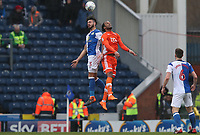 Blackburn Rovers' Derrick Williams and Blackpool's Nathan Delfouneso<br /> <br /> Photographer Rachel Holborn/CameraSport<br /> <br /> The EFL Sky Bet League One - Blackburn Rovers v Blackpool - Saturday 10th March 2018 - Ewood Park - Blackburn<br /> <br /> World Copyright &copy; 2018 CameraSport. All rights reserved. 43 Linden Ave. Countesthorpe. Leicester. England. LE8 5PG - Tel: +44 (0) 116 277 4147 - admin@camerasport.com - www.camerasport.com