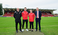Lincoln City Women's manager Richard Cooper, left, along with Lincoln City captain Lee Frecklington, Lincoln City Women's captain Chloe Brock-Taylor and Lincoln City director Steve Tointon during a press conference at Sincil Bank Stadium<br /> <br /> Photographer Chris Vaughan/CameraSport<br /> <br /> Lincoln City Women - Press conference - Tuesday 18th June 2019 - Sincil Bank - Lincoln<br /> <br /> World Copyright © 2019 CameraSport. All rights reserved. 43 Linden Ave. Countesthorpe. Leicester. England. LE8 5PG - Tel: +44 (0) 116 277 4147 - admin@camerasport.com - www.camerasport.com