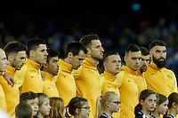 October 11, 2016: The Australian team sing the national anthem prior to the 3rd round Group B World Cup 2018 qualification match between Australia and Japan at the Docklands Stadium in Melbourne, Australia. Photo Sydney Low Please visit zumapress.com for editorial licensing. *This image is NOT FOR SALE via this web site.