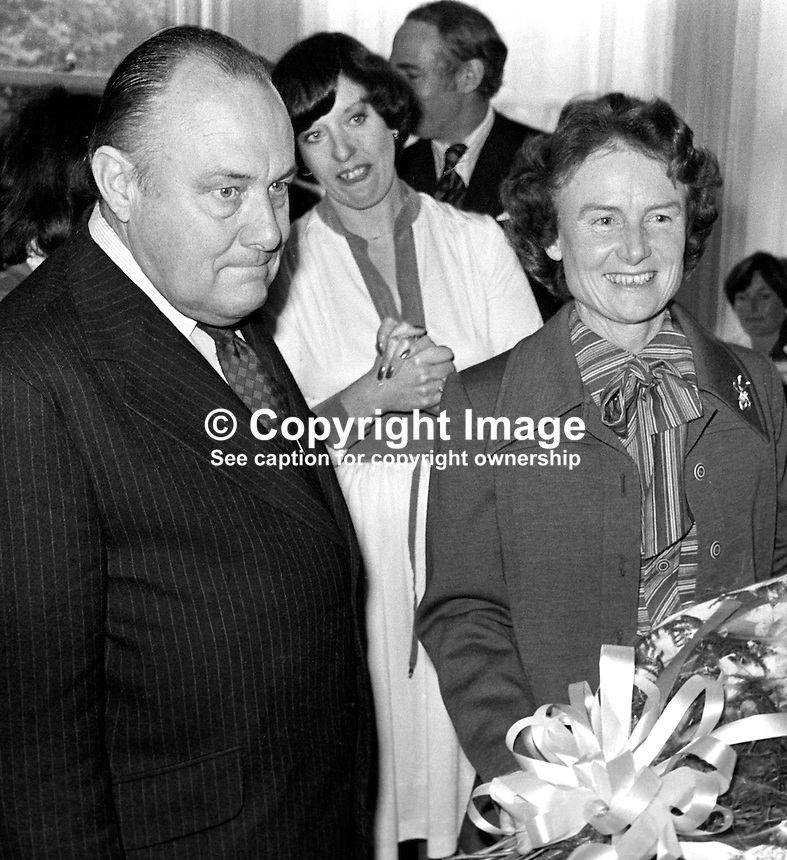 New Zealand Prime Minister Robert Muldoon, accompanied by his wife Thea Muldoon, visited the Peace People in Belfast during a two day visit to N Ireland.  Also in the photo is Betty Williams, one of the founders of the organisation (light dress &amp; hands clasped). 197706190207a.<br />