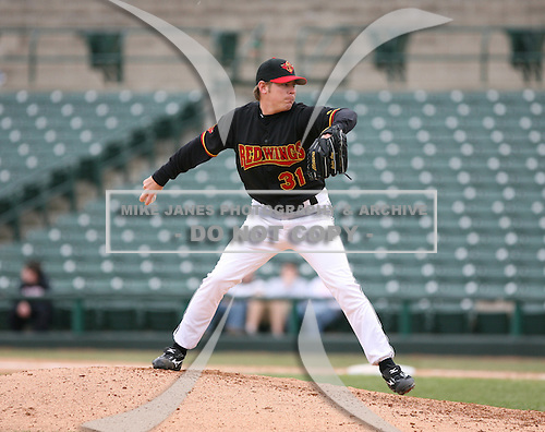2007:  Brian Bass of the Rochester Red Wings delivers a pitch at Frontier Field during a International League baseball game.  Photo copyright Mike Janes Photography 2007.