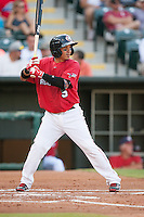 Oklahoma City RedHawks second baseman Ronald Torreyes (5) waits for a pitch during the Pacific League game against the Colorado Springs Sky Sox at the Chickasaw Bricktown Ballpark on August 3, 2014 in Oklahoma City, Oklahoma.  The RedHawks defeated the Sky Sox 8-1.  (William Purnell/Four Seam Images)