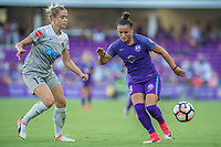 Orlando, FL - Sunday May 14, 2017: Abby Dahlkemper, Camila during a regular season National Women's Soccer League (NWSL) match between the Orlando Pride and the North Carolina Courage at Orlando City Stadium.
