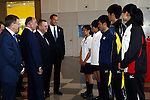(L-R)<br /> Gilbert Felli IOC Executive Director for the Olympic Games,<br /> Alex Gilady IOC member,<br /> John Coates IOC Vice President,<br />  2020Koji Murofushi,<br />  2014U19Maho Tosa,<br />  2014U19Kaya Aoki,<br />  2013Takatomo Furumai,<br />  2013Takumi Shiga,<br />  Haruna Sakakibara,<br /> APRIL 3, 2014 : IOC committee members inspected the athletes village, Koji Murofushi director, Yoichi Masuzoe Tokyo governor  and U23 Rowing national team's member was welcomed at Harumi Port Terminal in Tokyo, Japan. (Photo by AFLO SPORT)
