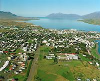 Akureyri, séð til norðurs. Fjorðungssjúkrahúsið fremst /.Akureyri viewing north