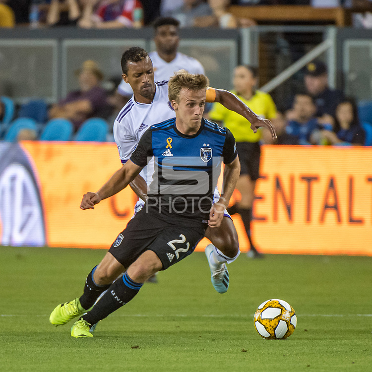 SAN JOSE,  - SEPTEMBER 1: Tommy Thompson #22 of the San Jose Earthquakes evades Nani  #17 of the Orlando City SC during a game between Orlando City SC and San Jose Earthquakes at Avaya Stadium on September 1, 2019 in San Jose, .