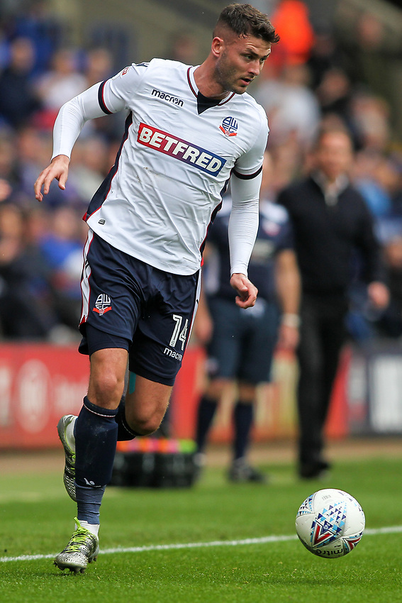 Bolton Wanderers'  Gary Madine<br /> <br /> Photographer Andrew Kearns/CameraSport<br /> <br /> The EFL Sky Bet Championship - Bolton Wanderers v Sheffield Wednesday - Saturday 14th October 2017 - Macron Stadium - Bolton<br /> <br /> World Copyright &copy; 2017 CameraSport. All rights reserved. 43 Linden Ave. Countesthorpe. Leicester. England. LE8 5PG - Tel: +44 (0) 116 277 4147 - admin@camerasport.com - www.camerasport.com